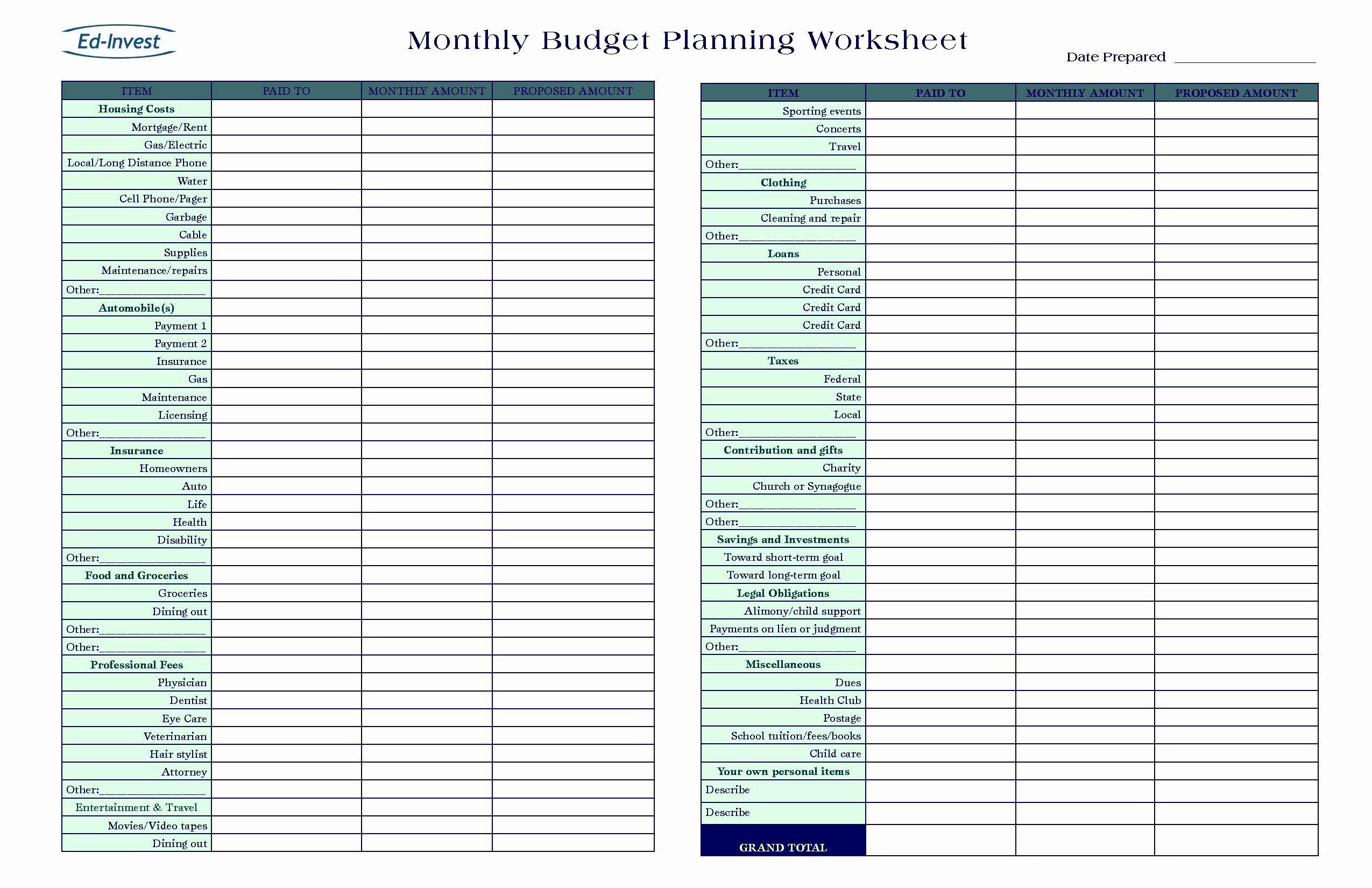 New Business Expense Sheet