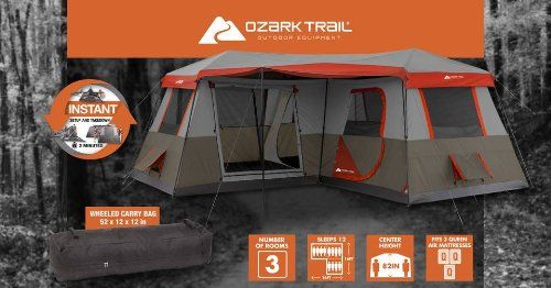 The tent i WANT! Ozark Trail 3 Room Instant Cabin Tent with Pre-Attached Poles & Amazon.com : 3 Room Cabin Tent 16x16. Sleeps 12 Poles Pre ...
