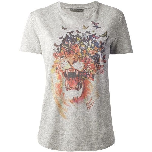 ALEXANDER MCQUEEN lion and butterfly printed t-shirt (390 BRL) ❤ liked on Polyvore featuring tops, t-shirts, tees, gray top, cotton t shirts, lion tee, alexander mcqueen t shirt and lion print t shirt