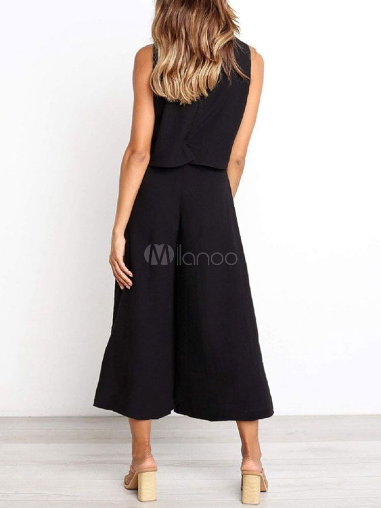 Wide Leg Jumpsuit For Women Black Jewel Neck Sleeveless One Piece Jumpsuit