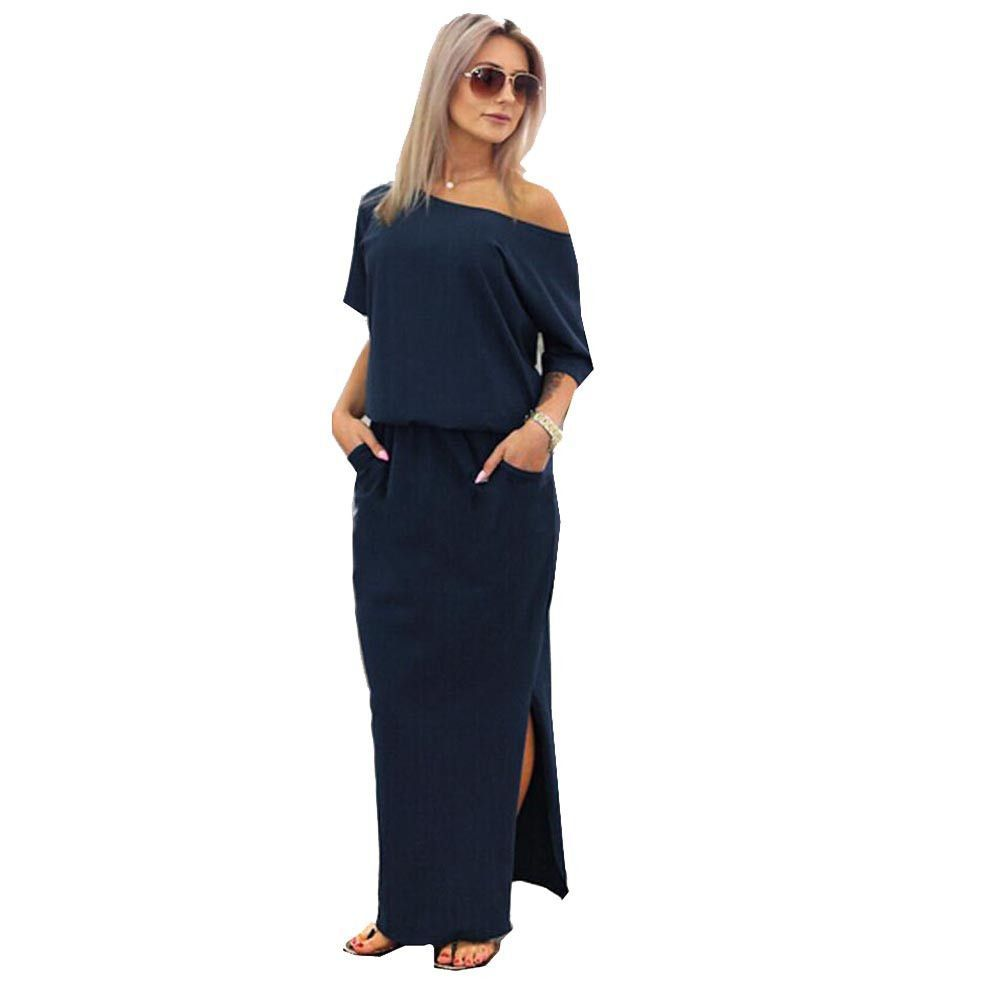 ecbb40cb730 2017 New Sexy Summer Women Boho Maxi Dress Short Sleeve Side Slit Loose  Evening Party Long Beach Dress with Pocket Vestidos. Ladies Navy Blue Off  ...
