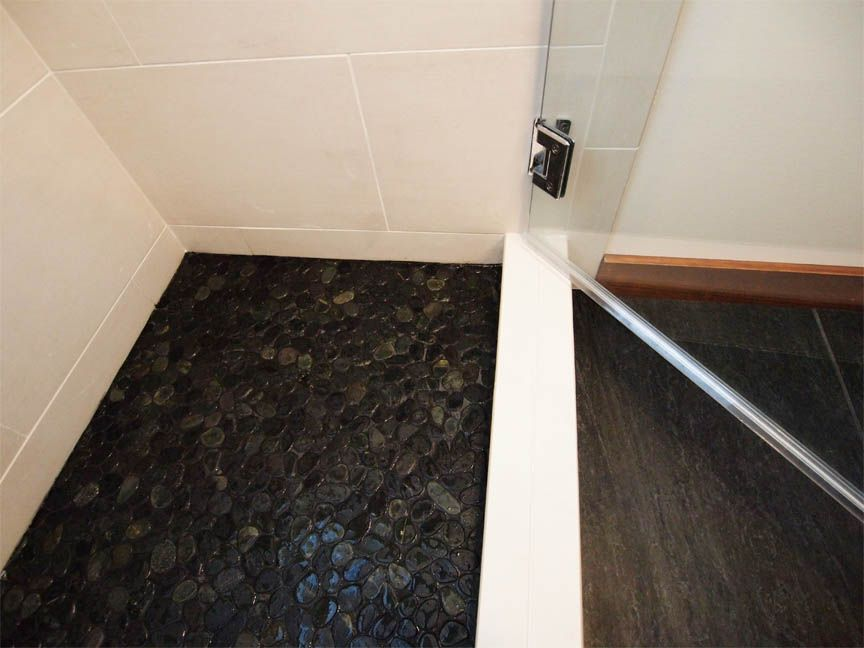 Image Result For Black River Stone Shower Floor With White Tile