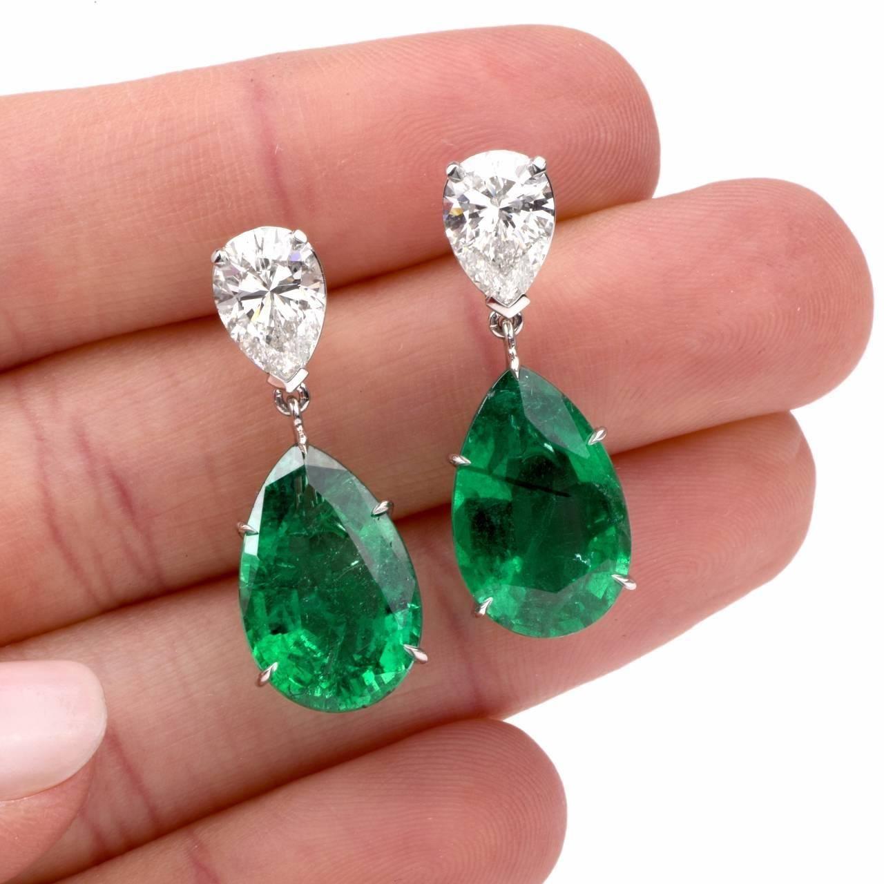 Women Vintage Aquamarine Emerald Gemstone Ear Stud Dangle Earring Jewelry CB