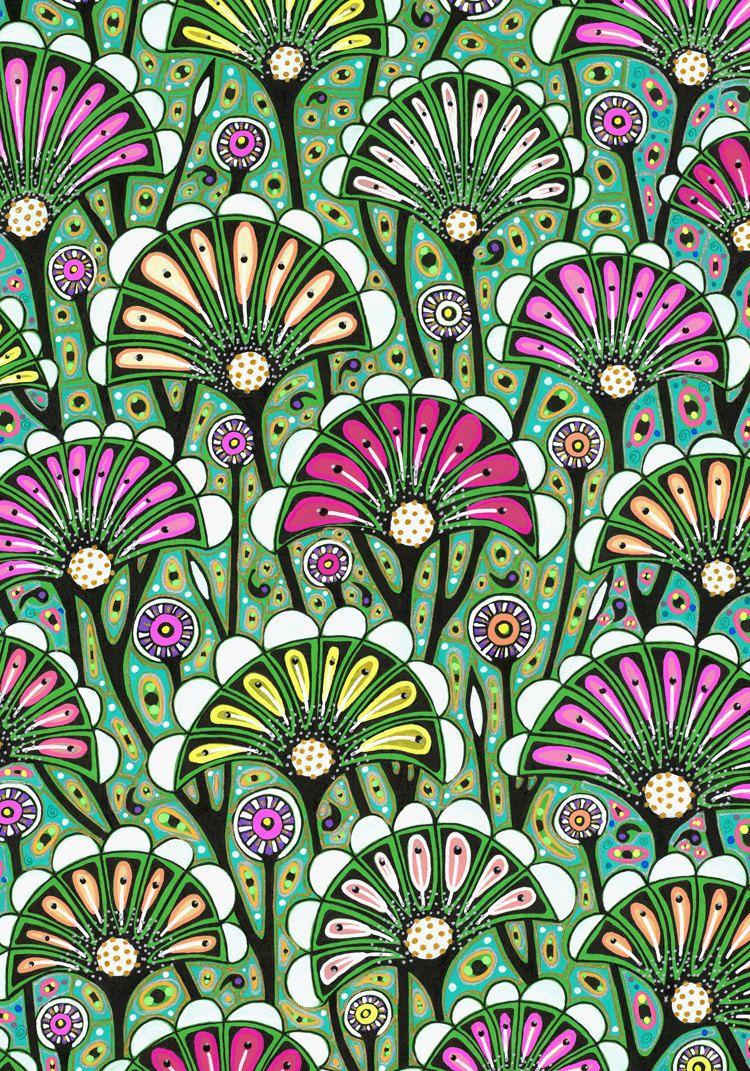 Floral Art Drawing Bright Stylized Flower Pattern Art Nouveau