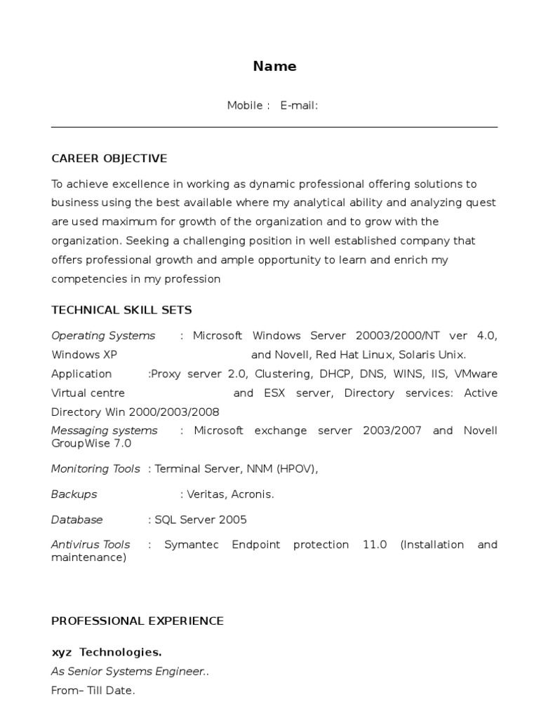 Wintel L1 Sample Resume