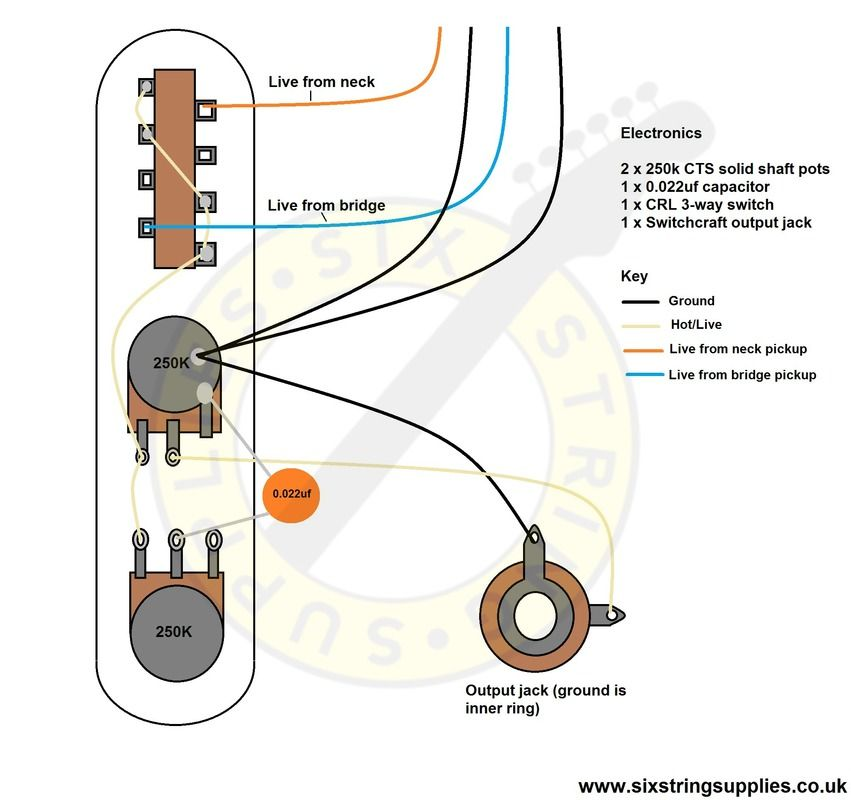 1969 telecaster thinline wiring diagram. in this version, the standard  0.047uf capacitor is swapped out for a 0.022uf creat… | telecaster  thinline, telecaster, wire  pinterest