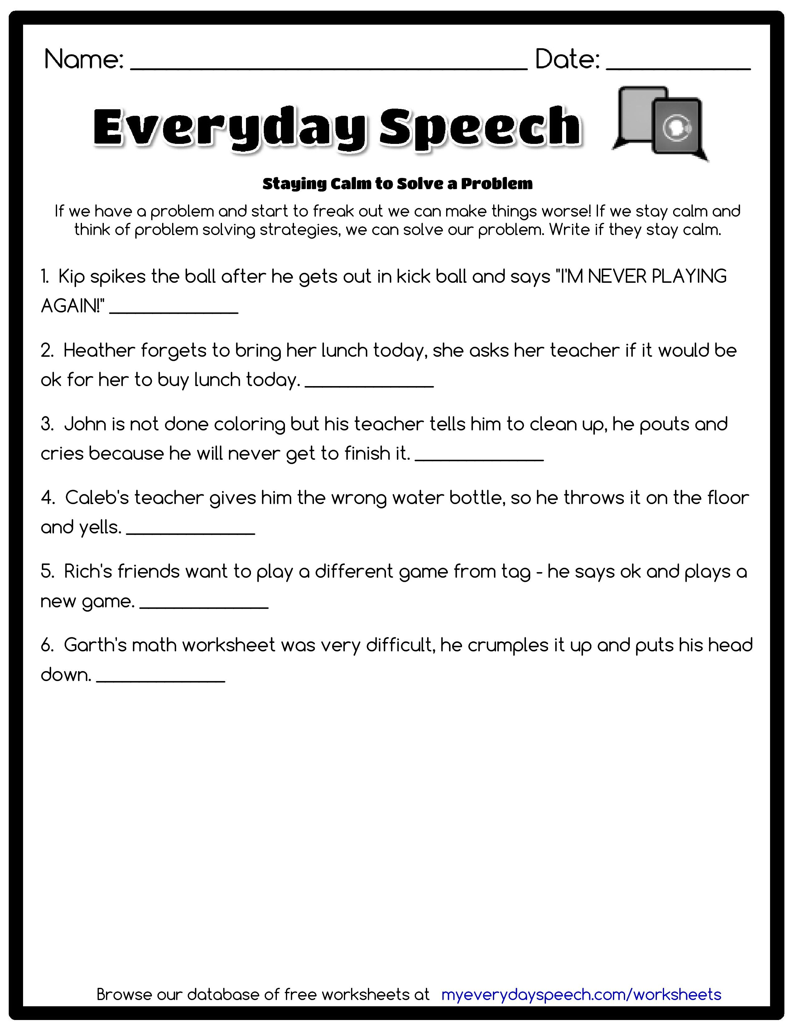 Check out the worksheet I just made using Everyday Speech\'s ...