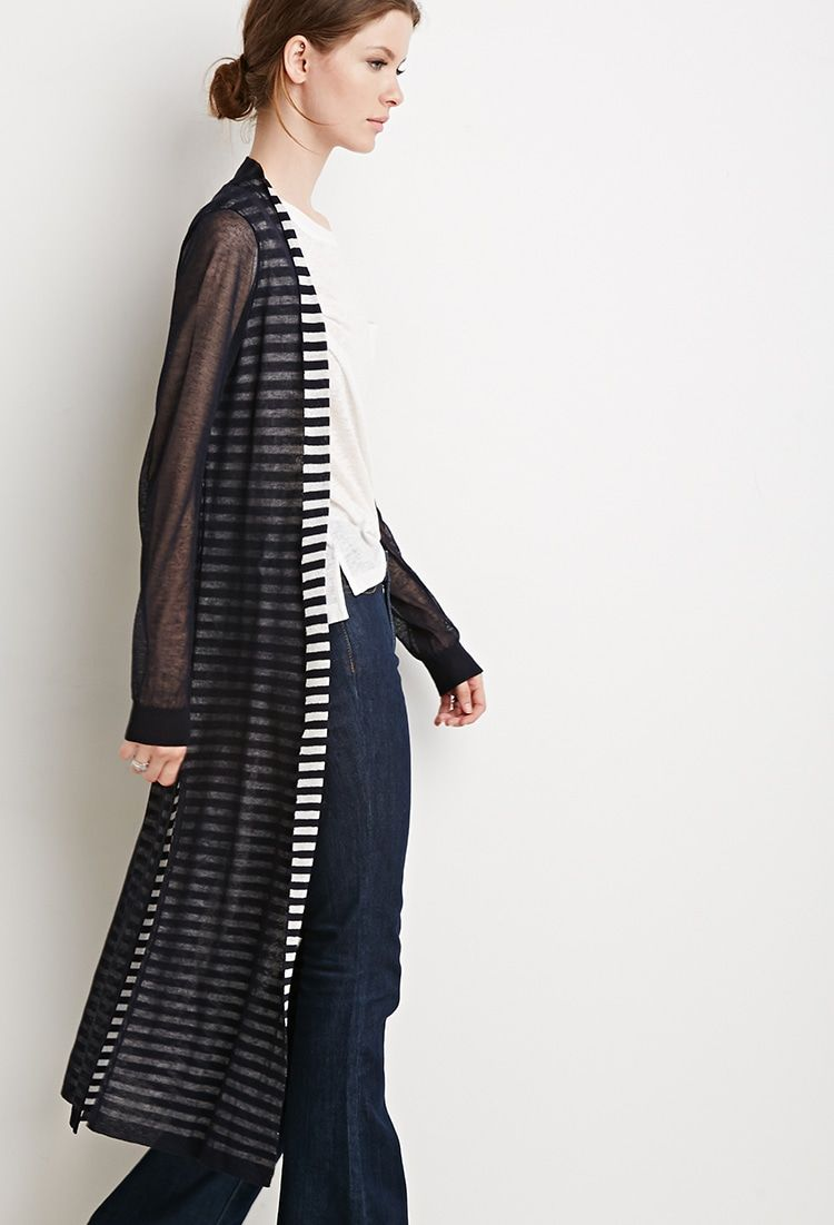 Contemporary Shadow Stripe Longline Cardigan | FOREVER 21 saved by ...