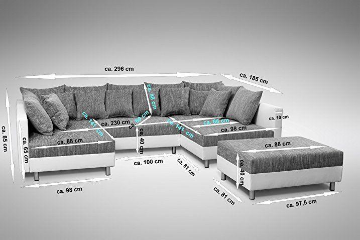 Sofa Couch Ecksofa Eckcouch in weiss / hellgrau Eckcouch mit Hocker