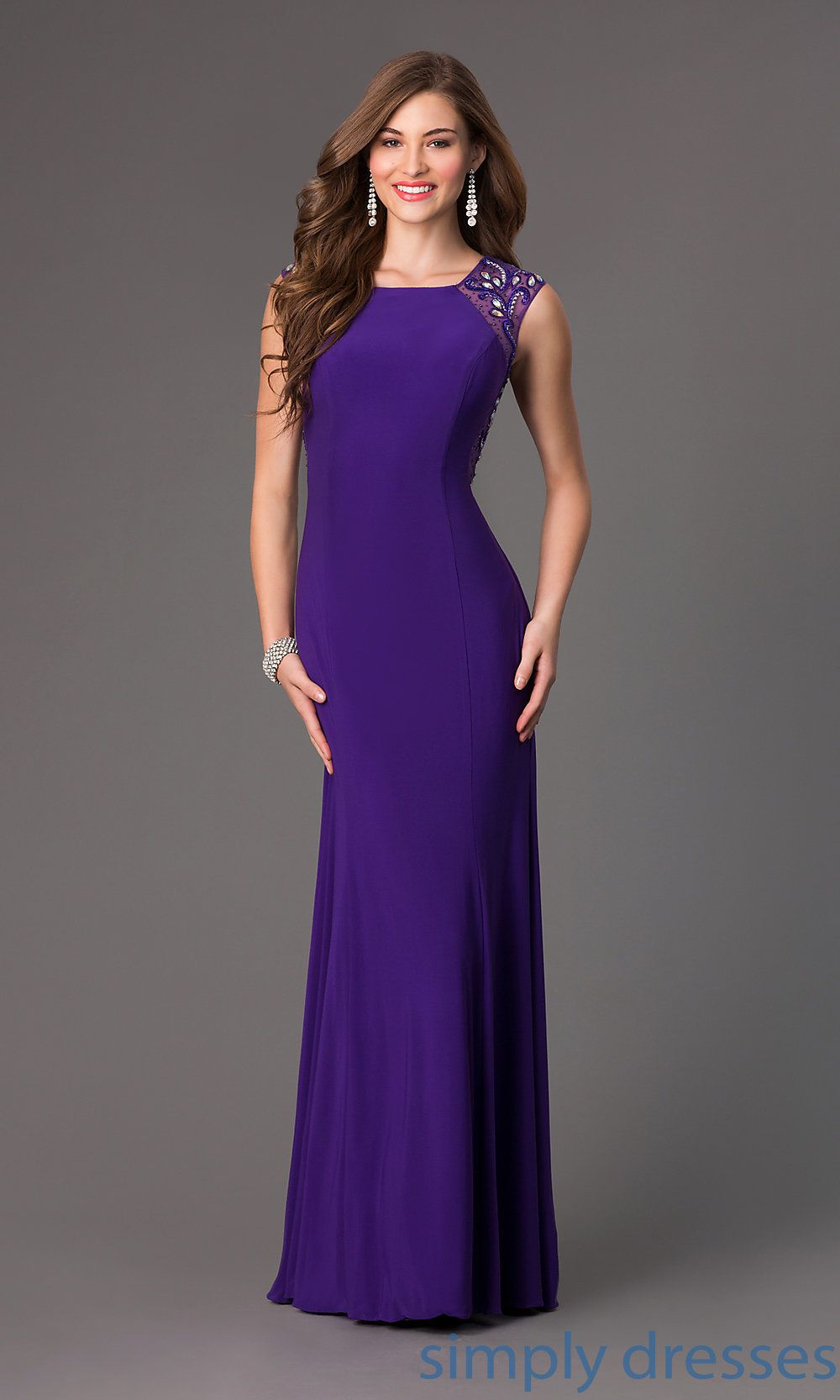 Long sleeveless formal gown with embellished sheer back pinterest