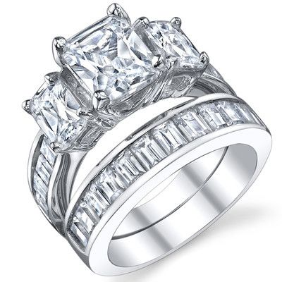 Lightning New Year Deals On Engagement Rings 2 Carat Radiant Cut Cubic Zirconia CZ Sterling Silver Womens Ring Set Sizes 4 To 11