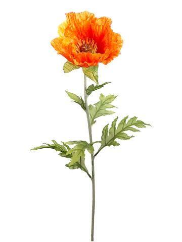 Faux poppy flower stem in golden orange randomly amused faux poppy flower stem in golden orange mightylinksfo