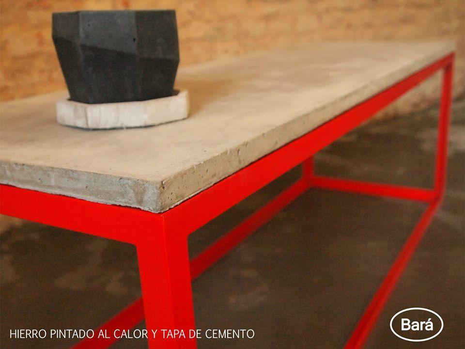 Diseño Bará  Mesa en hierro y tapa de cemento