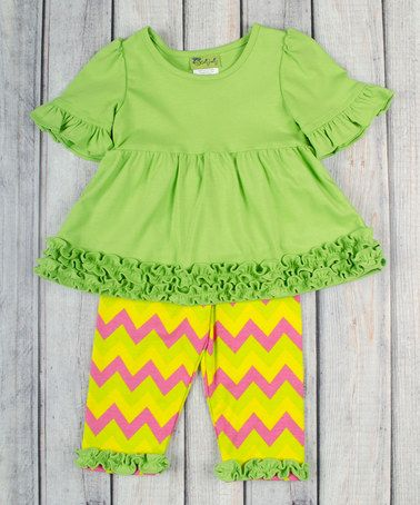 This Lime Ruffle Tunic & Yellow Leggings - Infant, Toddler & Girls by Stellybelly is perfect! #zulilyfinds