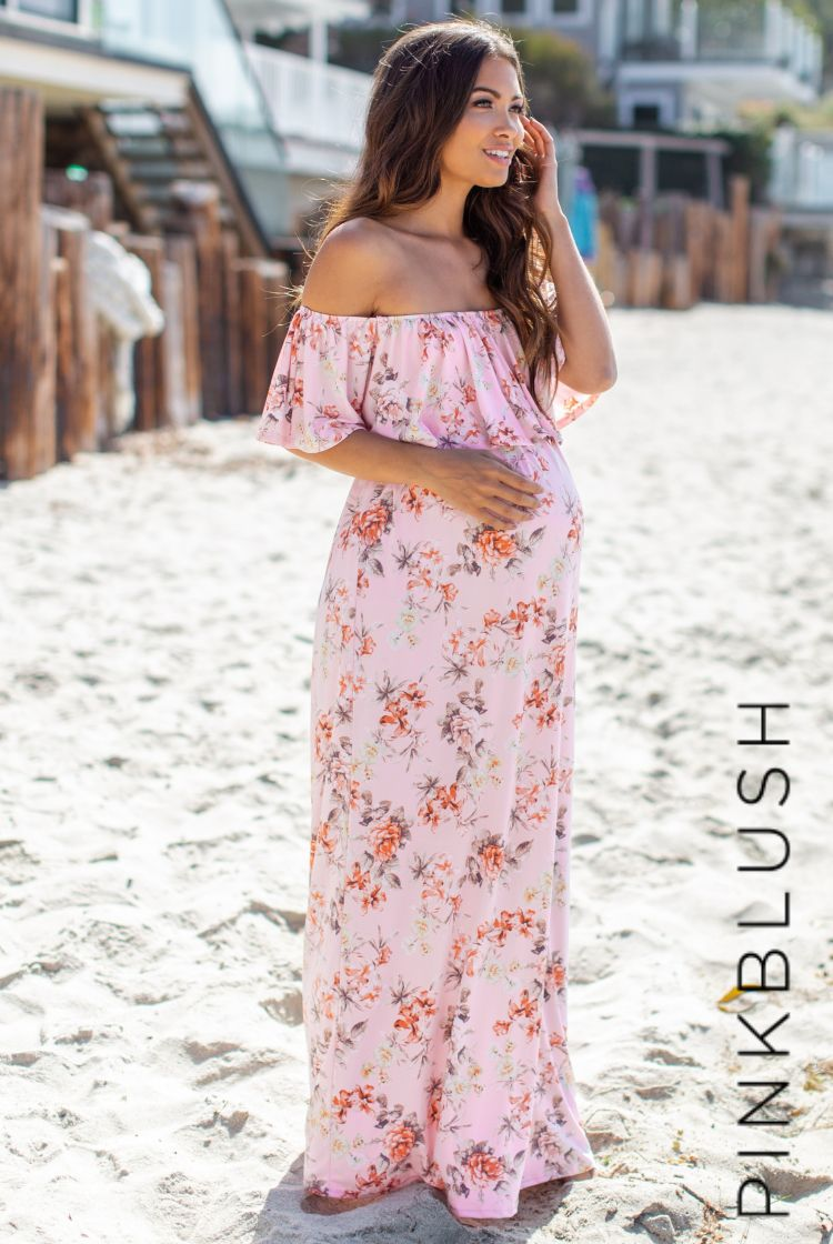 1ca904b3295b2 Floral printed off shoulder maternity maxi dress. Sash tie. Cinched  neckline with ruffle trim.