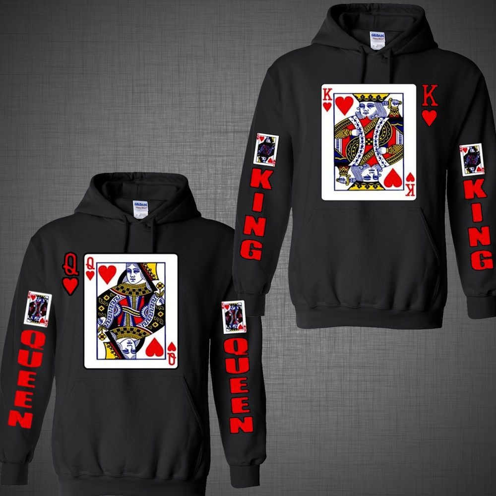 Valentine's Day King of hearts Queen couple shirts matching Hoodie ...