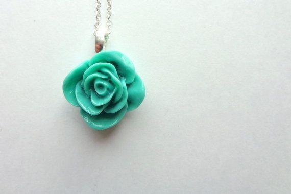 SALE.  Aqua Rose.  A Simple Silver Flower Necklace. by hendersweet, $9.50