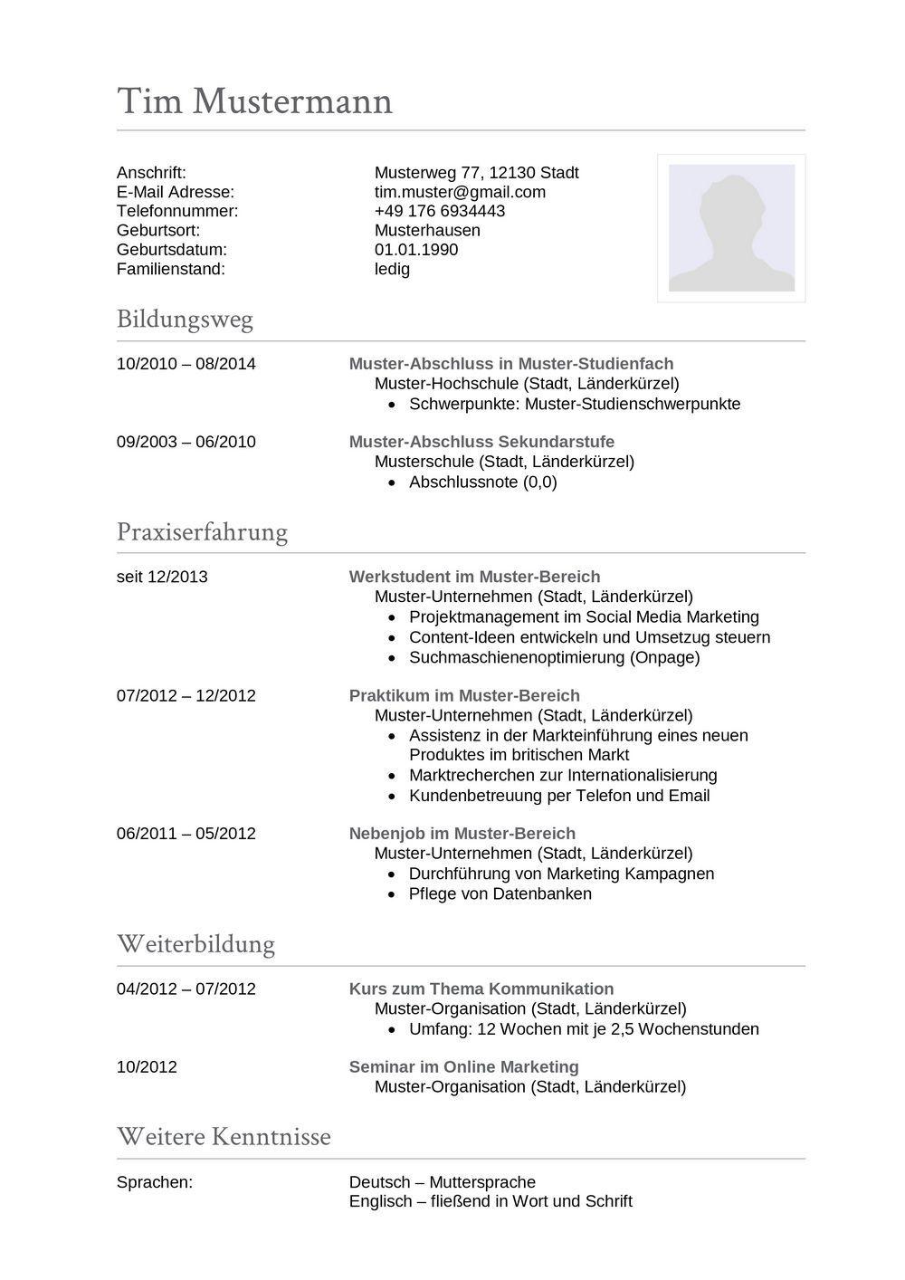 Lebenslauf Muster für Sachbearbeiter | Lebenslauf Designs ...