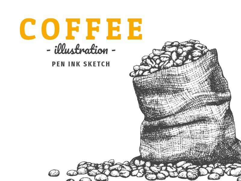 Coffee bean in sackcloth bag illustration (Pen ink sketch) by ultimate arm