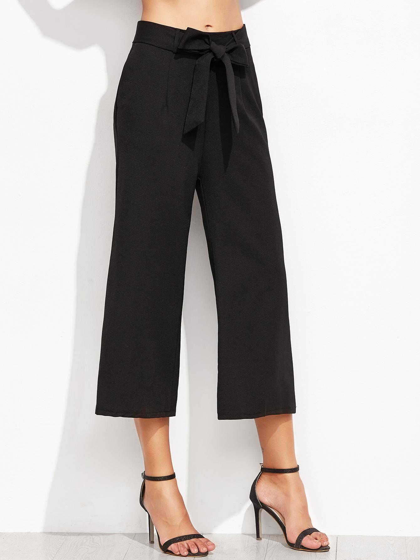 ROMWE - ROMWE Black Self Tie Wide Leg Pants - AdoreWe.com