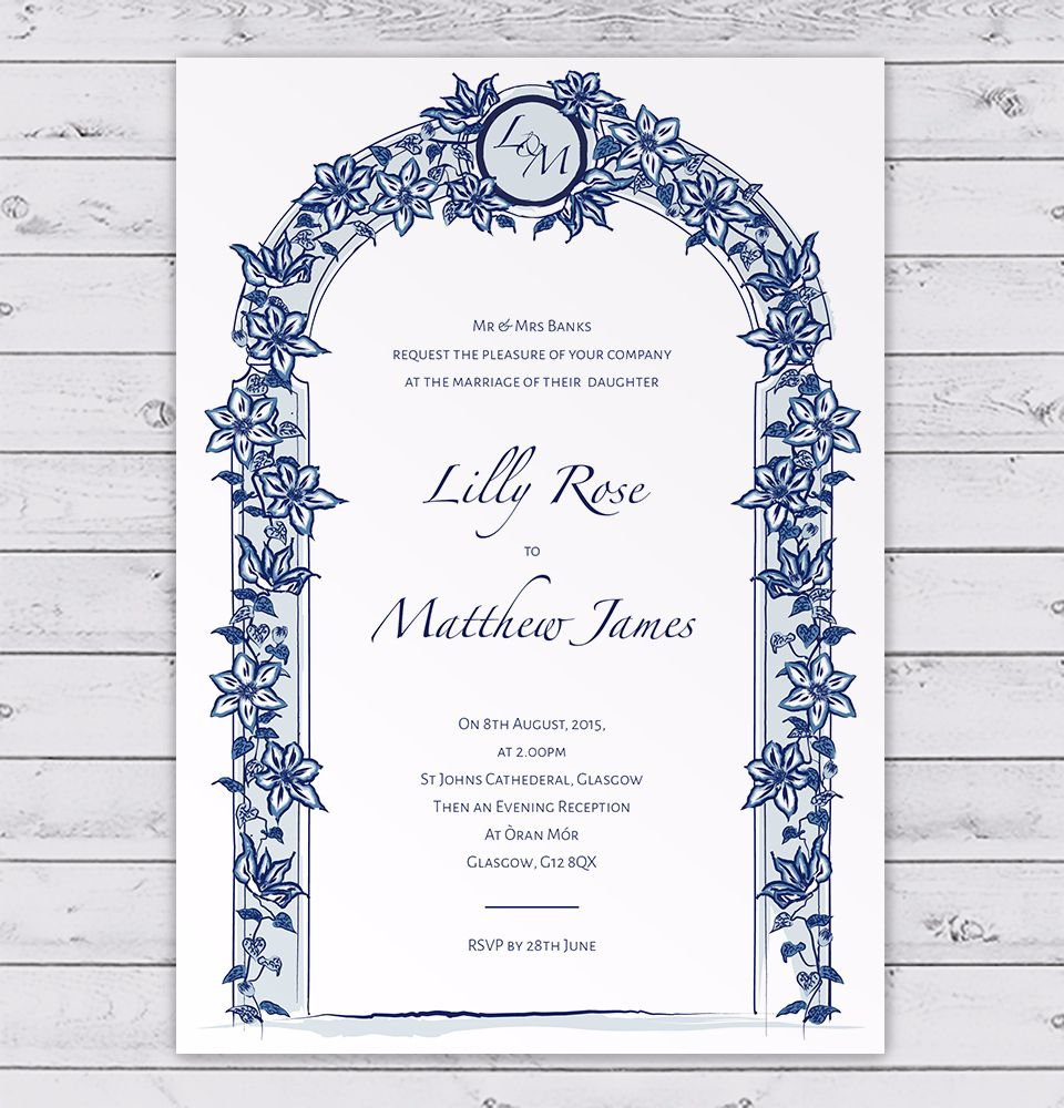 Blue floral arch wedding invitation with clematis flowers summer blue floral arch wedding invitation with clematis flowers stopboris Choice Image