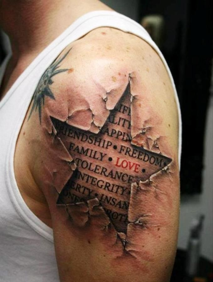 Amazing 3d Bible Words Combine Star Tattoos For Men On Sleeve