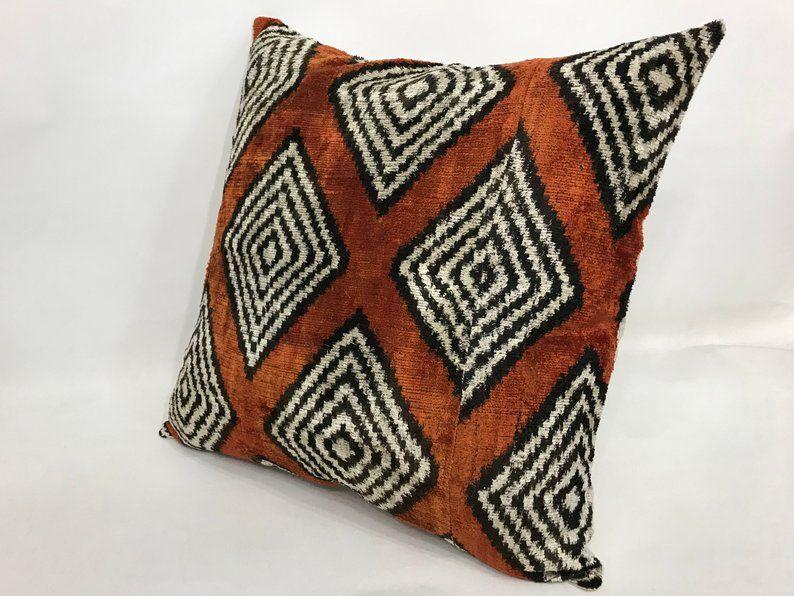 Silk cushion cover, Decorative Pillow Square ikat pillow Handmade Silk Pillow Ikat velvet pillow 20x20inch velvet pillow