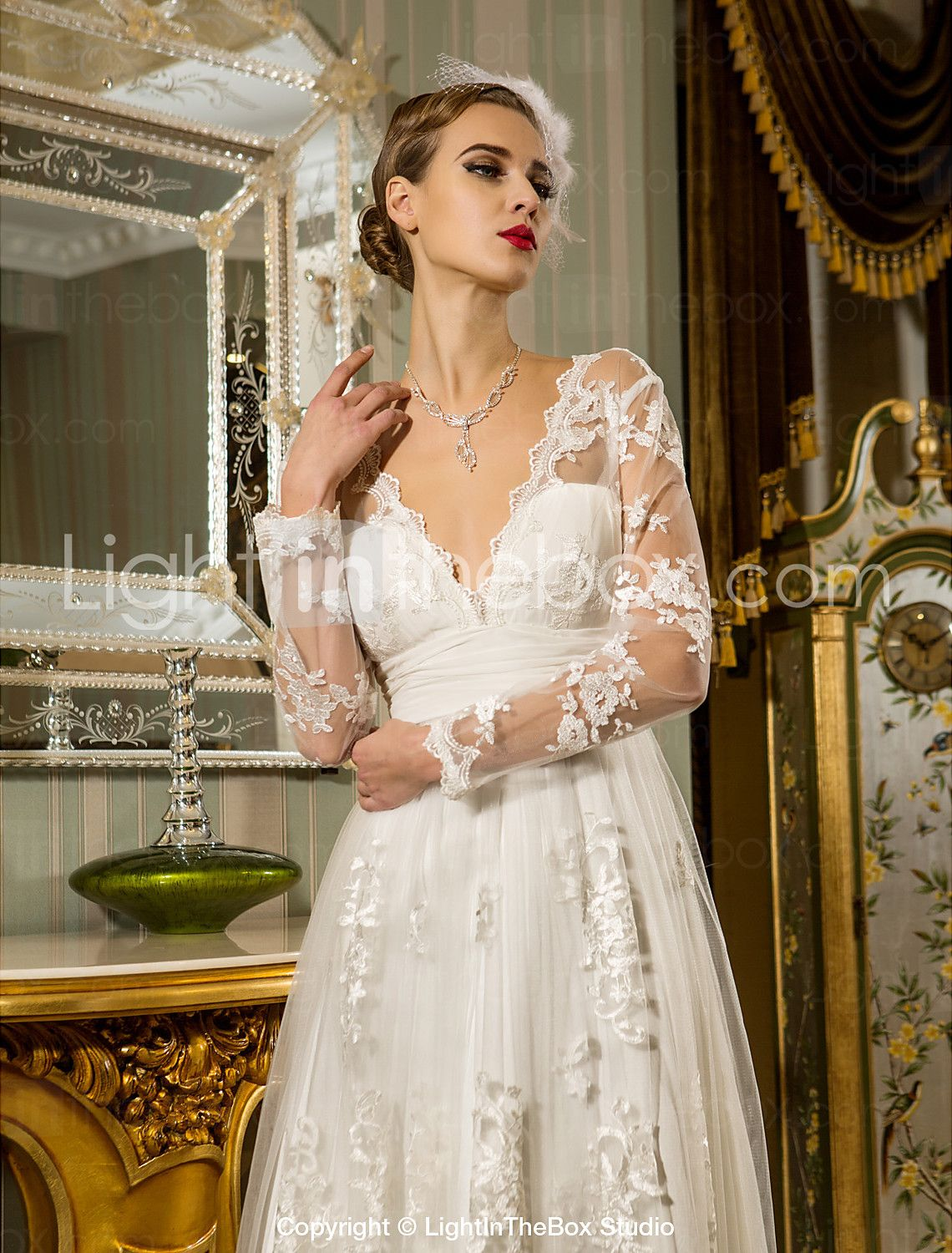 Sheath/Column Wedding Dress Floorlength Ruched Tulle Lace