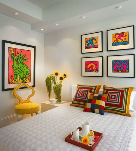 Attractive And Colorful Wall Art Pictures With Corner Side Table In  Contemporary Bedroom Interior Design Ideas