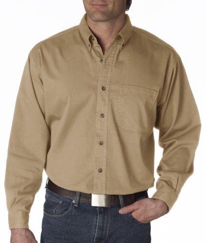 55370bf742c UltraClub Mens Cypress Long-Sleeve Denim Shirt with Pocket. 8960 ...