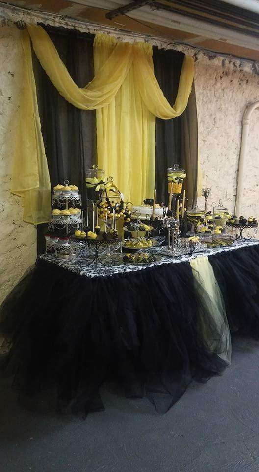 Yellow and black birthday party dessert table! See more