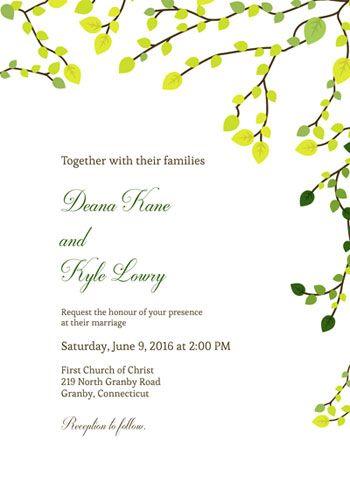 FREE PDF - Greens Wedding invitation template - print at home PDF - brides invitation templates