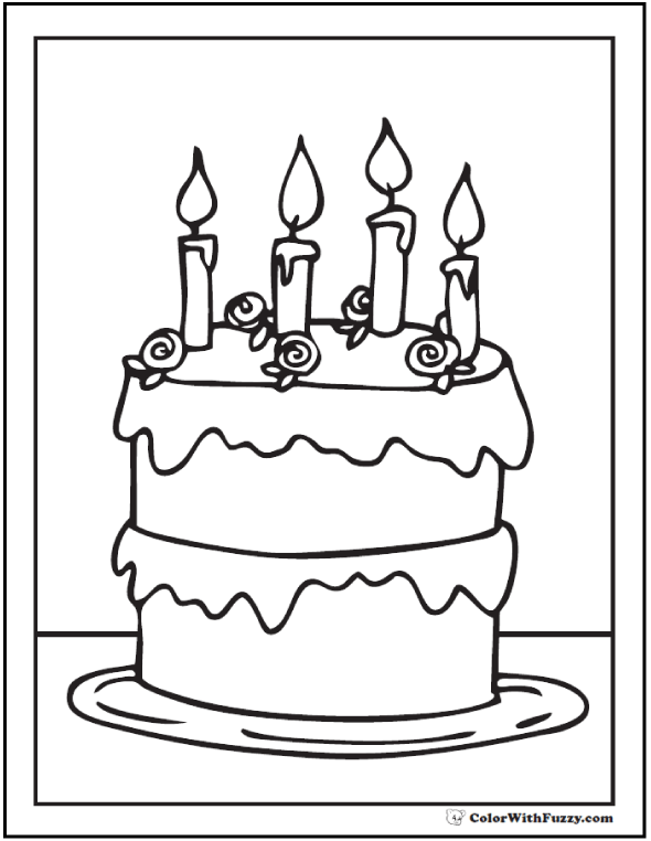Birthday Cake Coloring Pages Pdf