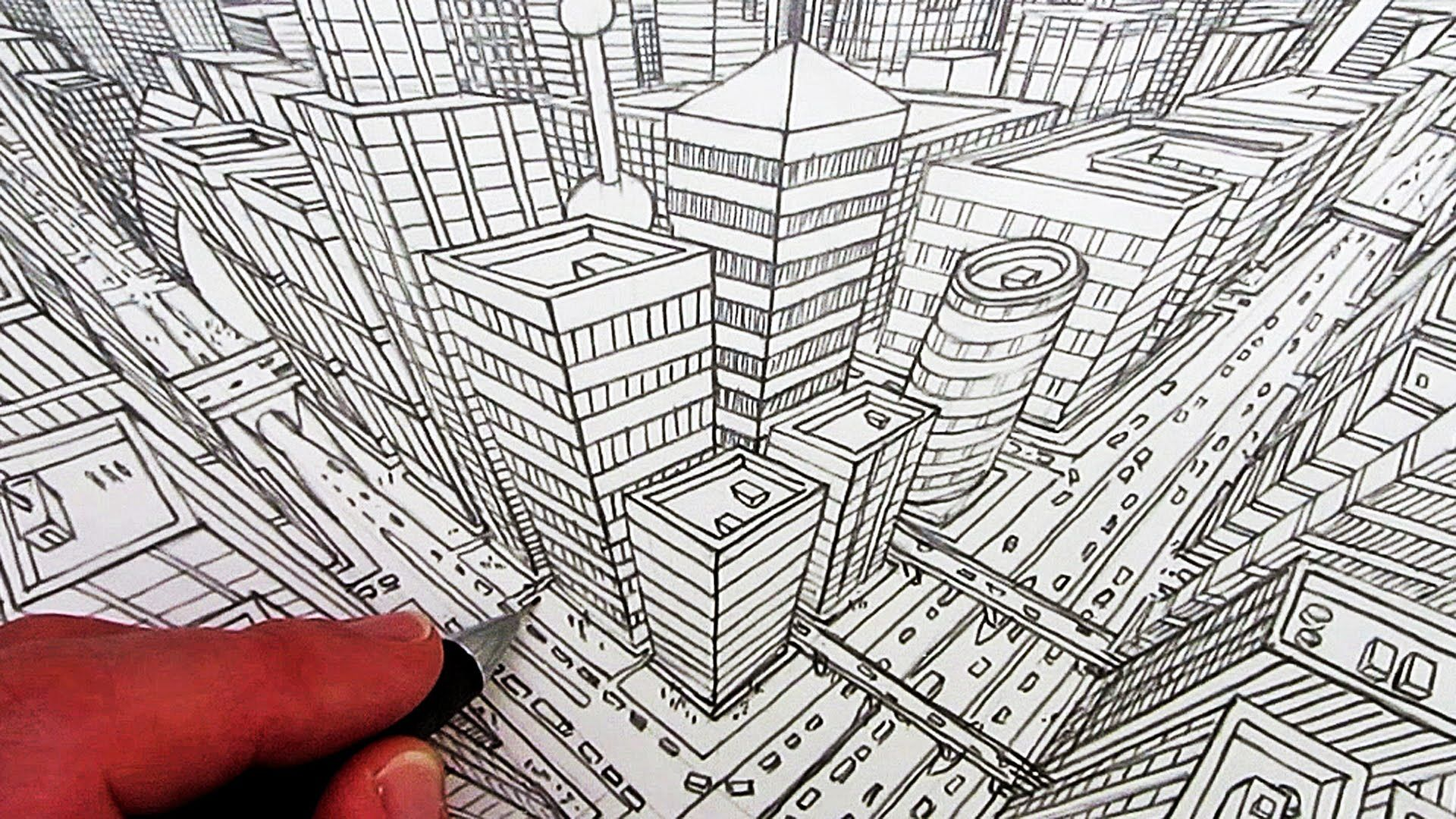 How To Draw A City In Three Point Perspective
