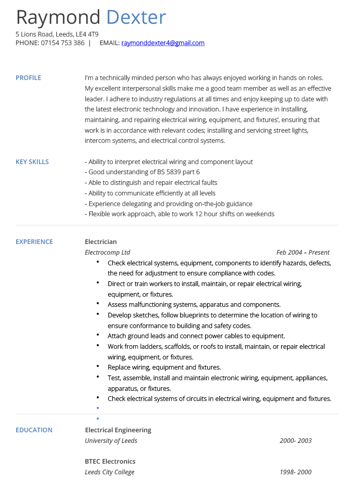 Electrician Resume Electrician Cv Example And Template  Cv Technician  Pinterest