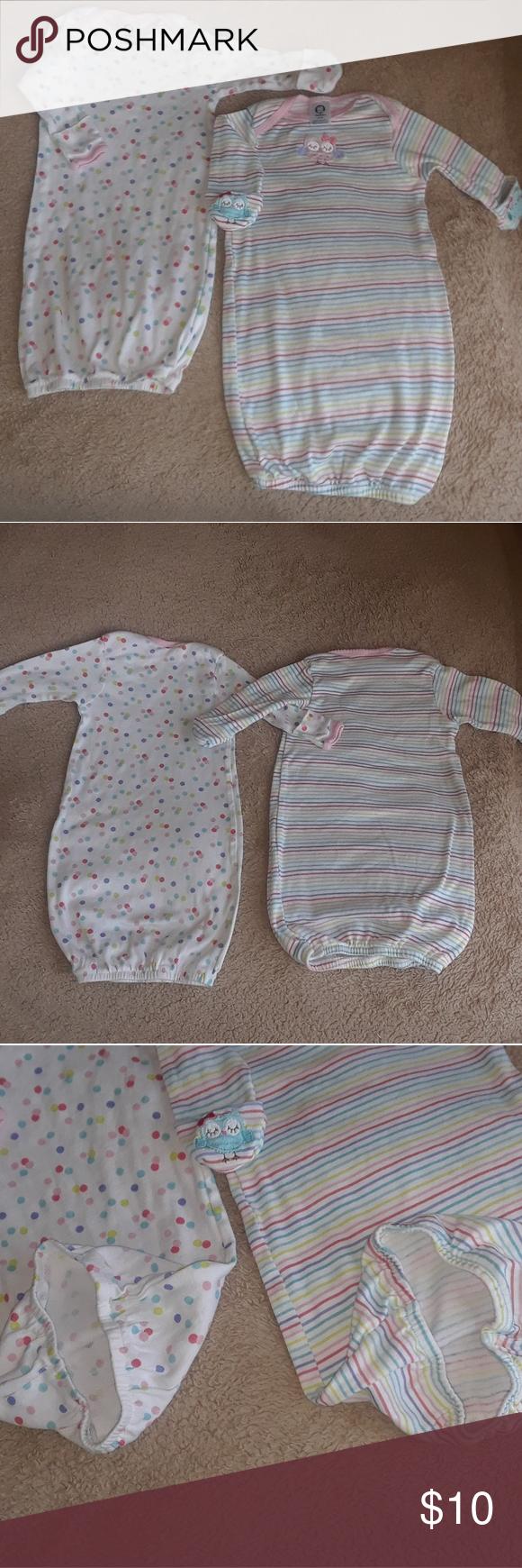 2 Gerber Sleeper Gowns 0-6 mths EUC | My Posh Closet | Pinterest