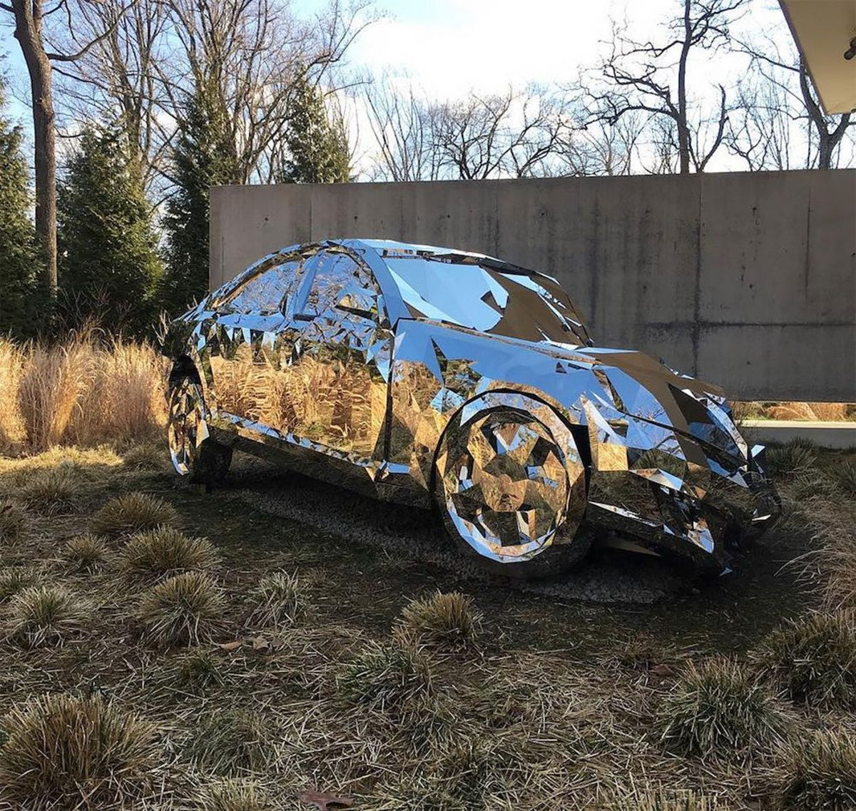 A Wrecked Luxury Car Built From Over 12 000 Reflective Steel Parts Mercedes Benz S550 Car Art Cars