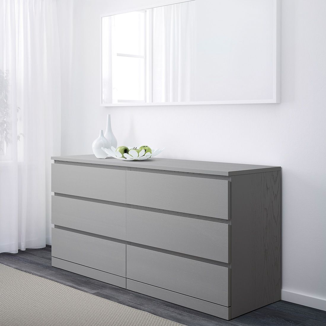 Malm 6 Drawer Dresser Gray Stained 63x30 3 4 Dresser Drawers