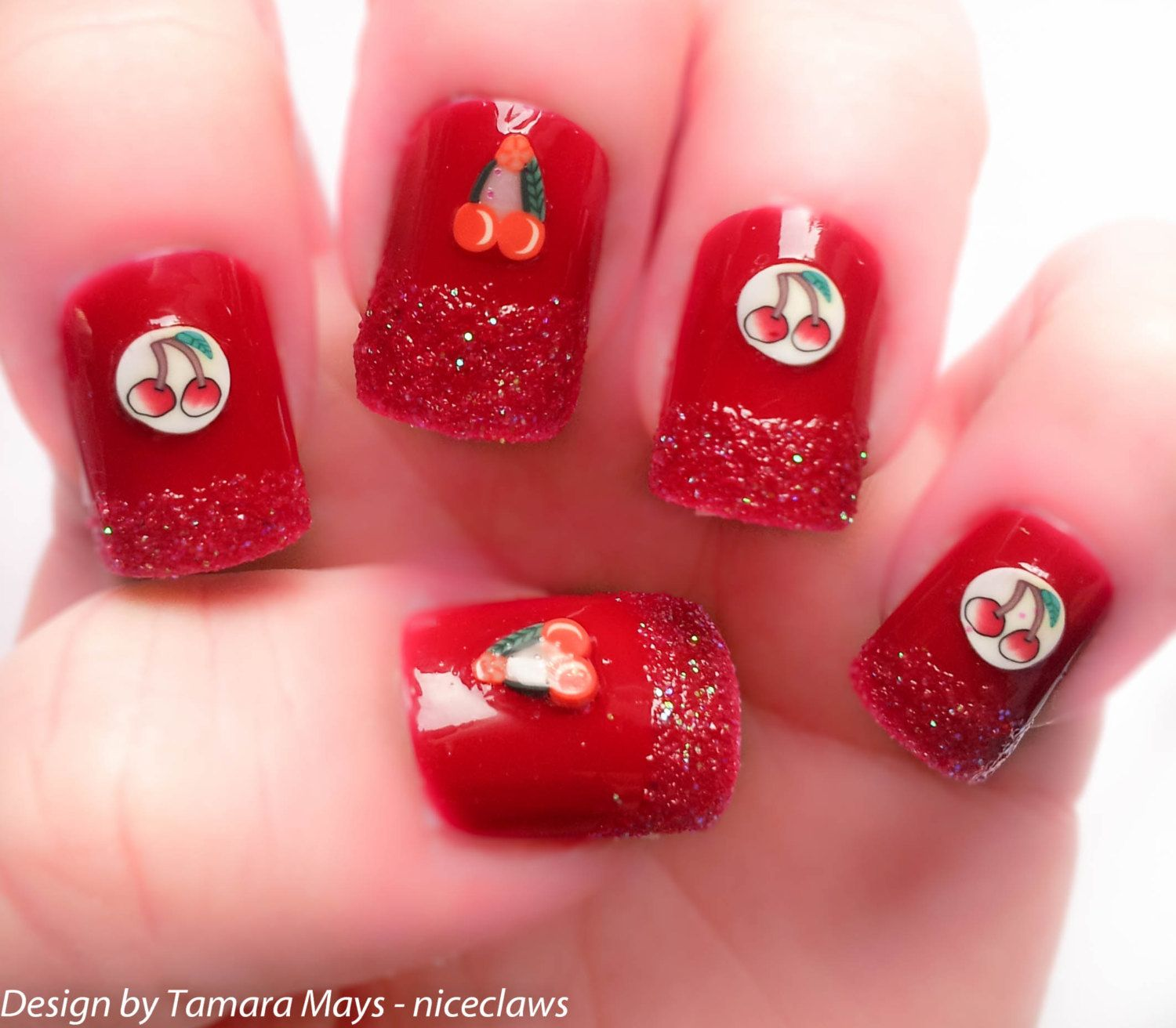 Red Cherry Glitter Dip 3D Fake Nails with Kawaii Cherries. $16.10 ...