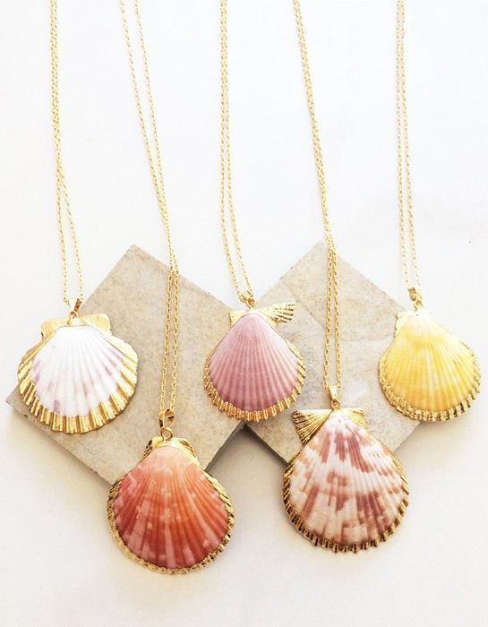 Seashell Wishes Necklace 18K Gold Natural Stone colors may vary