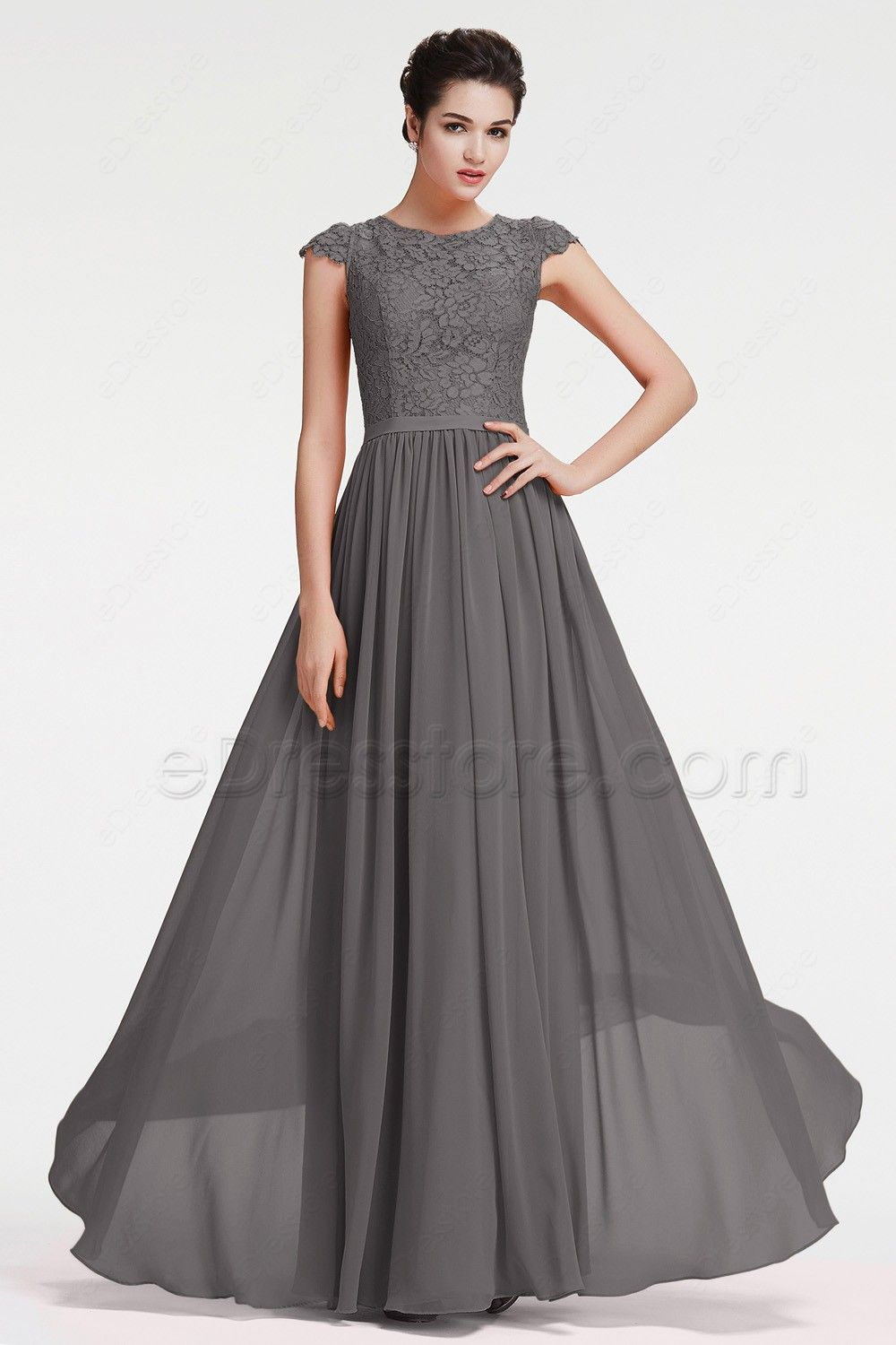 The Charcoal Grey Bridesmaid Dress Is Made Of Chiffon And Lace Fabric Top With