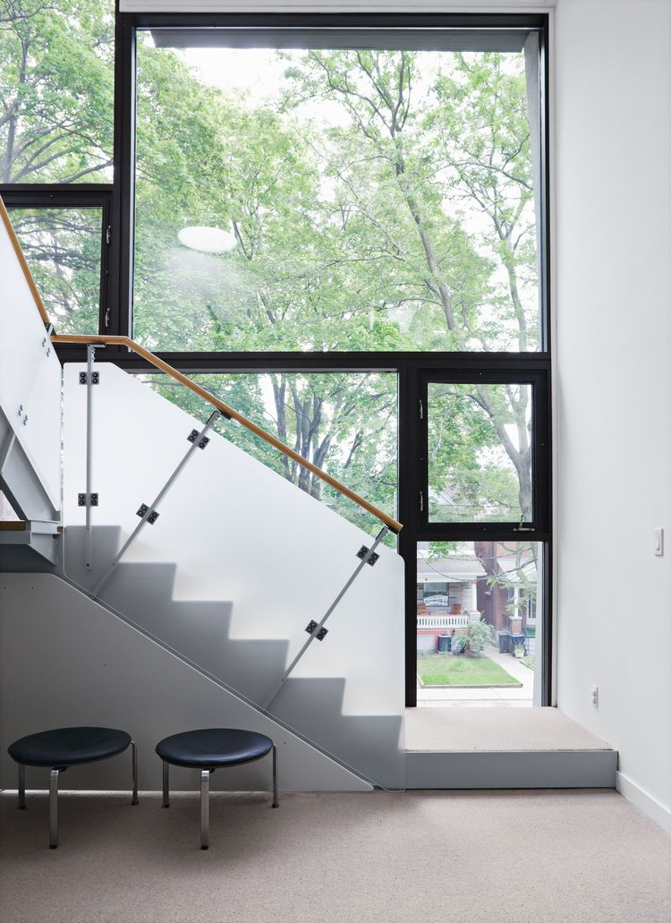 home interior design stairs%0A Narrow Modernist ThreeStory Home in Toronto