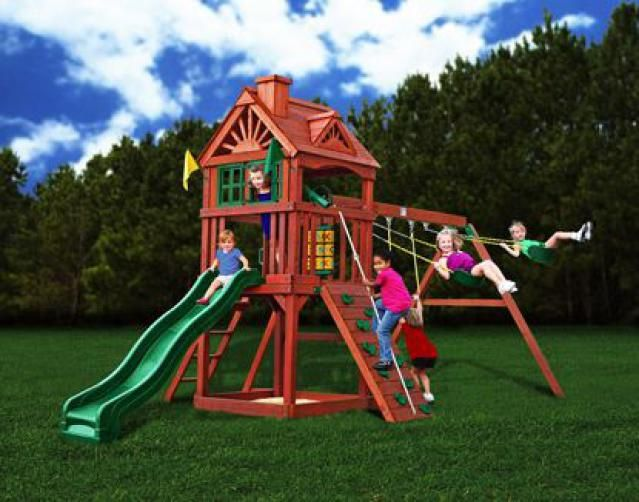 10 Best Wooden Swing Sets for Your Backyard: Gorilla Playsets Landing  Wooden Swing Set - 10 Best Wooden Swing Sets For Your Backyard Wooden Swings, Swings
