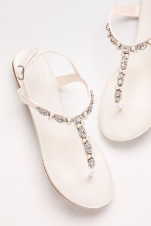 6d7c9073a Pearls and crystals lend romantic detail to these versatile sandals. By David s  Bridal Synthetic Adjustable buckle Imported