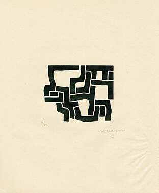 Eduardo Chillida (1924-2002), from Más Allá (with Jorge Guillén), 1973. Woodcut. Plate size: 11cm H x 13.6cm W. Sheet size: 37.9cm H x 32cm W. Edition of 230 copies.