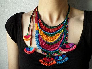 beaded freeform crochet necklace - statement necklace with orange, red, magenta pink, teal blue and green seed beads and crochet flowers by irregularexpressions | by irregular expressions