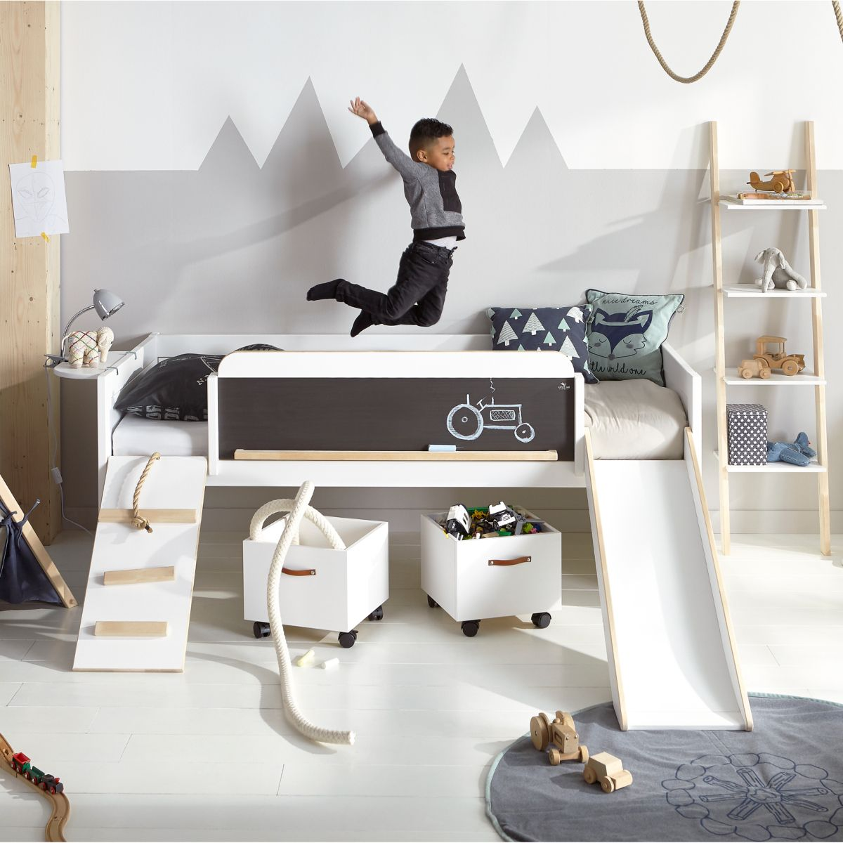 Lifetime Halbhohes Hochbett Play Learn Sleep Kiefer Mit Rutsche 90x200cm Unique Kids Beds Cool Beds For Kids Kids Bed With Slide
