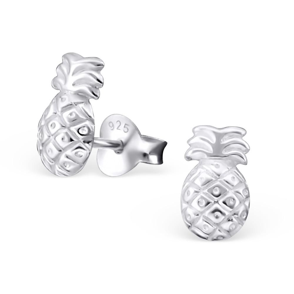 pineapple sterling silver stud earrings beautiful silver