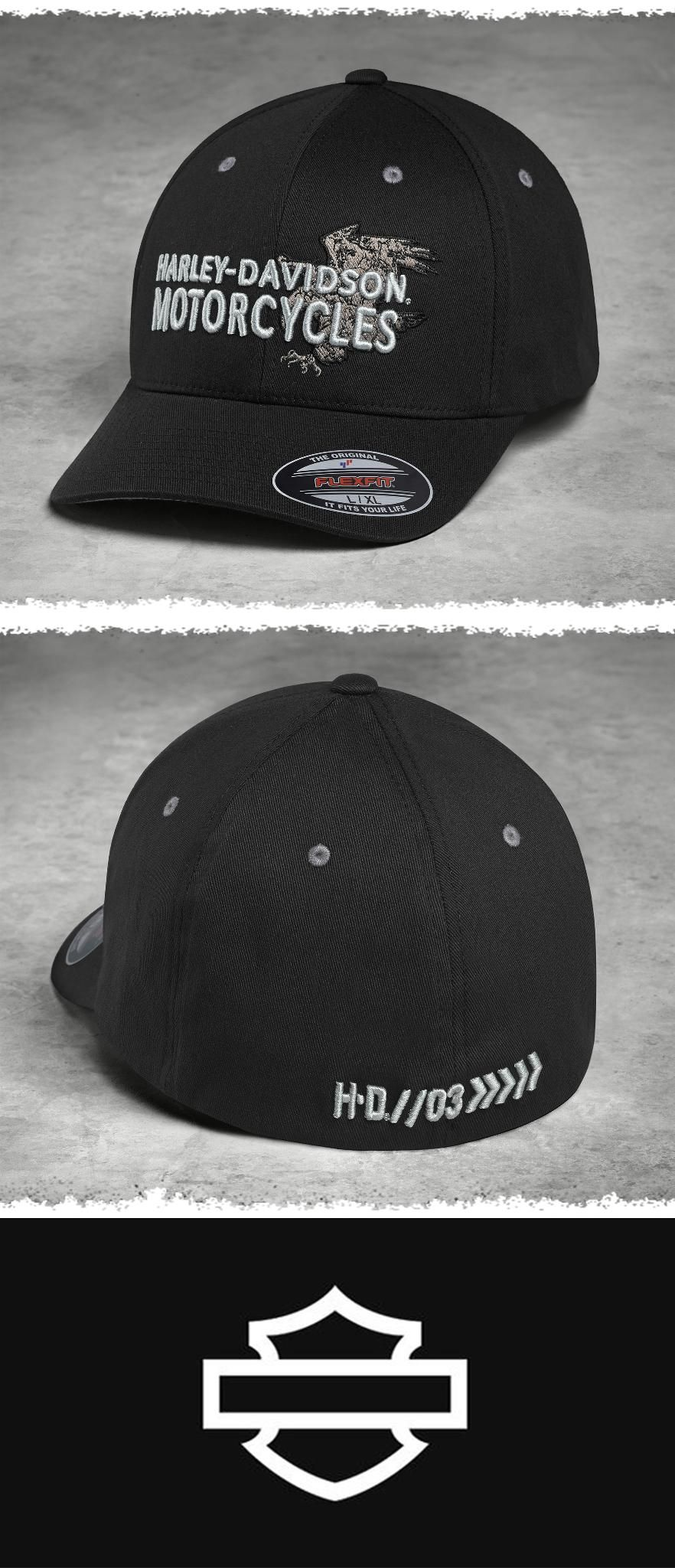 62434507b The Flexfit® interior comfort stretch band is a secret weapon against  squeezing, pinching hats. | Harley-Davidson Men's Embroidered Eagle Stretch  Cap