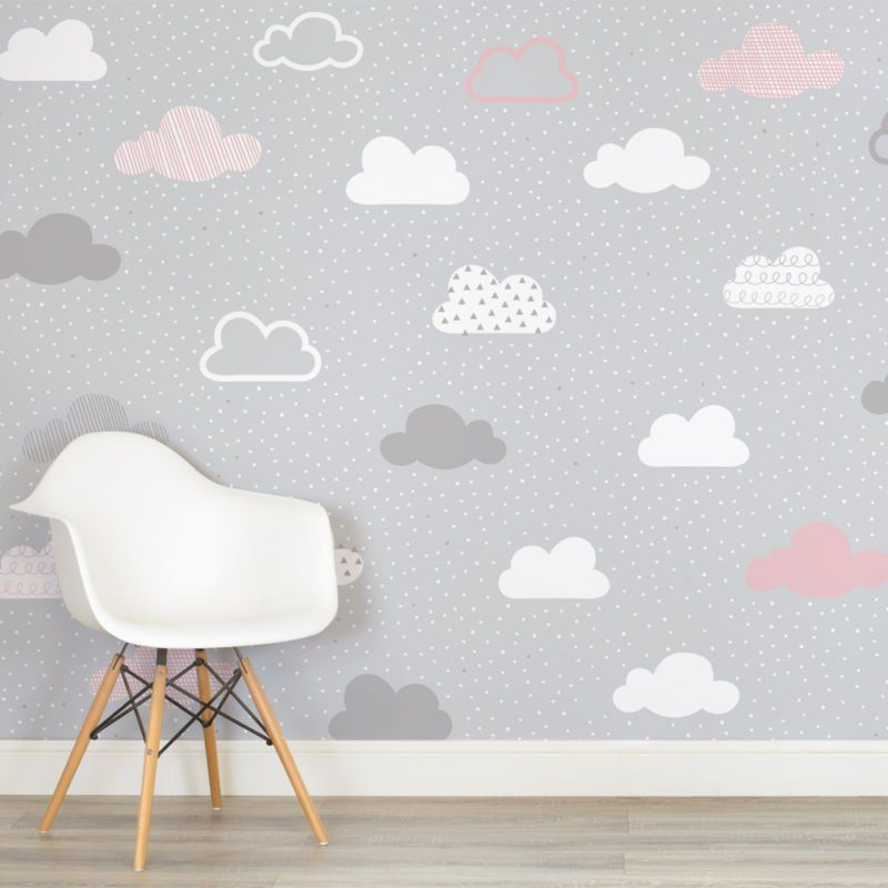 Girl Room Wallpaper And Fablic With Animal Pink And Grey Clouds Pattern Nursery Square Wall Mural